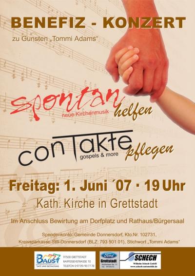 Plakat für das Benefiz Konert des Trendchor conTakte aus dem Jahr 2007