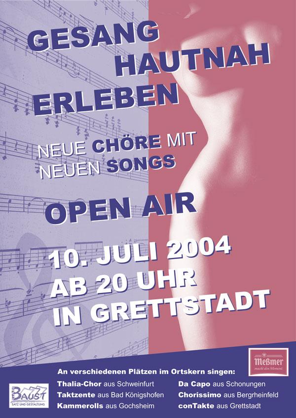 """Plakat der Veranstaltung """"Gesang Hautnah Erleben"""" des Trendchor conTakte Grettstadt aus dem Jahr 2004"""