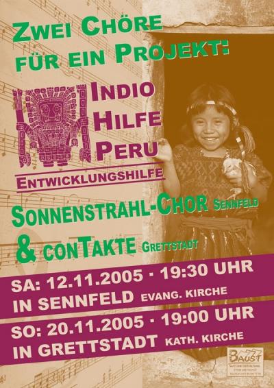 """Plakat für das Benefiz Konzert """"Indio Hilfe"""" des Trendchor conTakte aus dem Jahr 2007"""