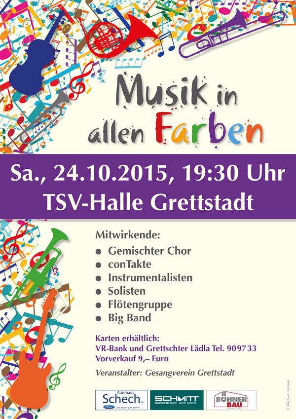 Plakat der Veranstaltung Musik in allen Farben des Gesangverein Grettstadt aus dem Jahr 2015
