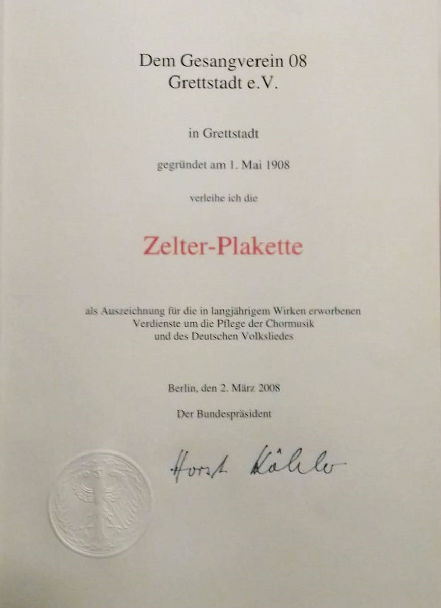 Urkunde zur Zelter Plakette, die dem Gesangverein Grettstadt verliehen wurde