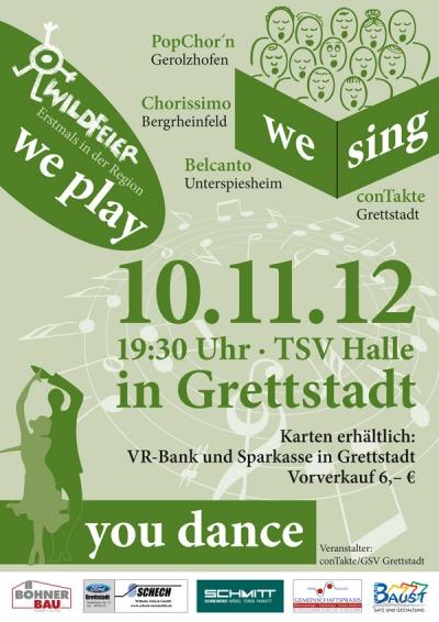 Plakat der Veranstaltung We Play We Sing You Dance des Trendchor conTakte aus dem Jahr 2012